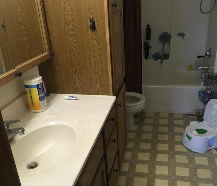 showing smoke damage in a bathroom