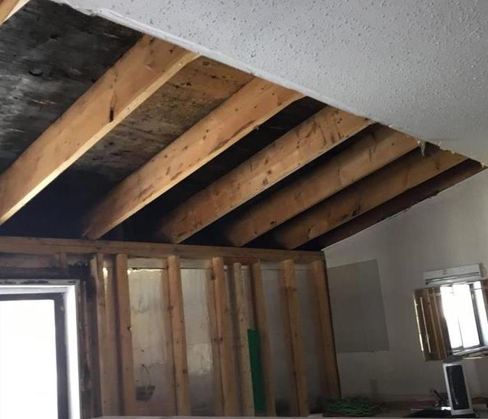 ceiling removed and dried