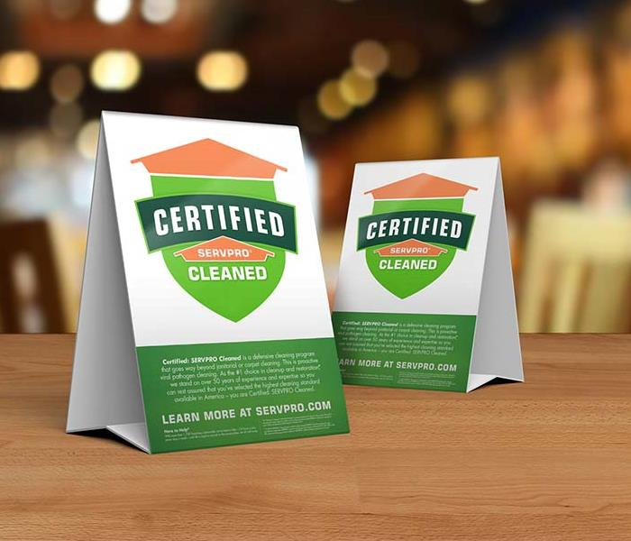 Table tops for Certified: SERVPRO Cleaned